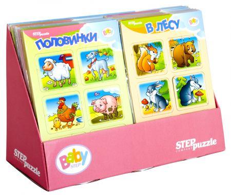 Образователни пъзели Baby Step (38 пъзела в кутия, 16 различни картинки)